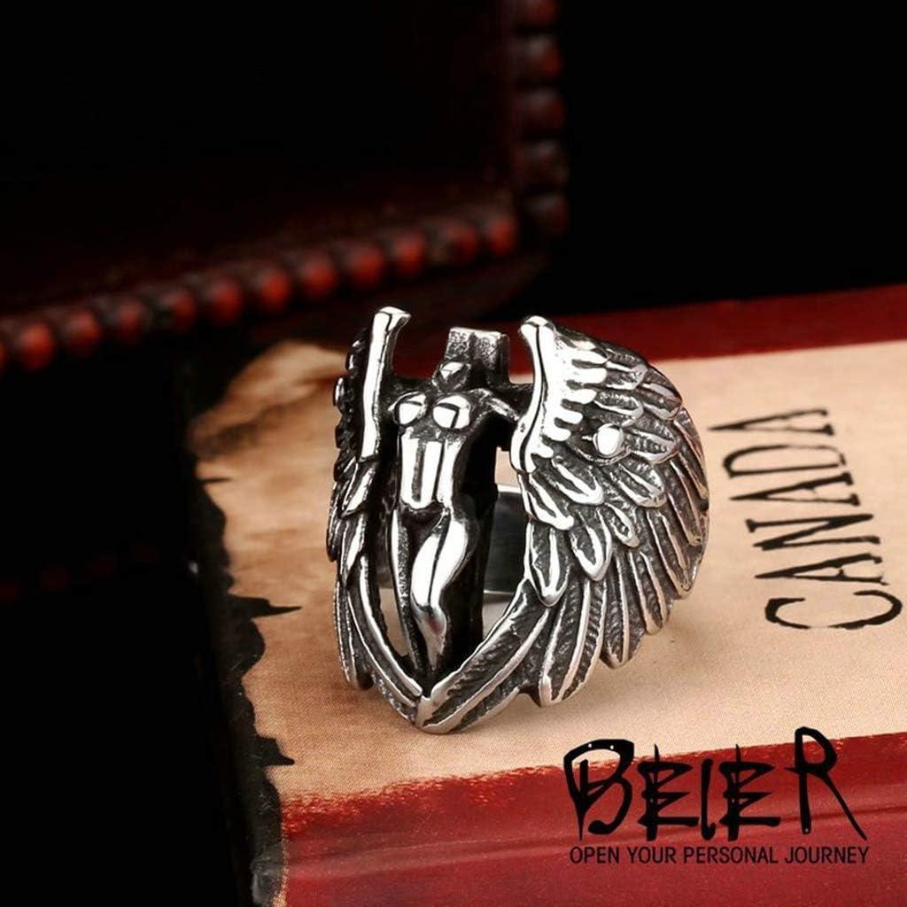 Beydodo Bague Acier Gothique Homme Bague Aile Ange Punk Rock Taille 54-74 Bague Chevaliere Homme Argent