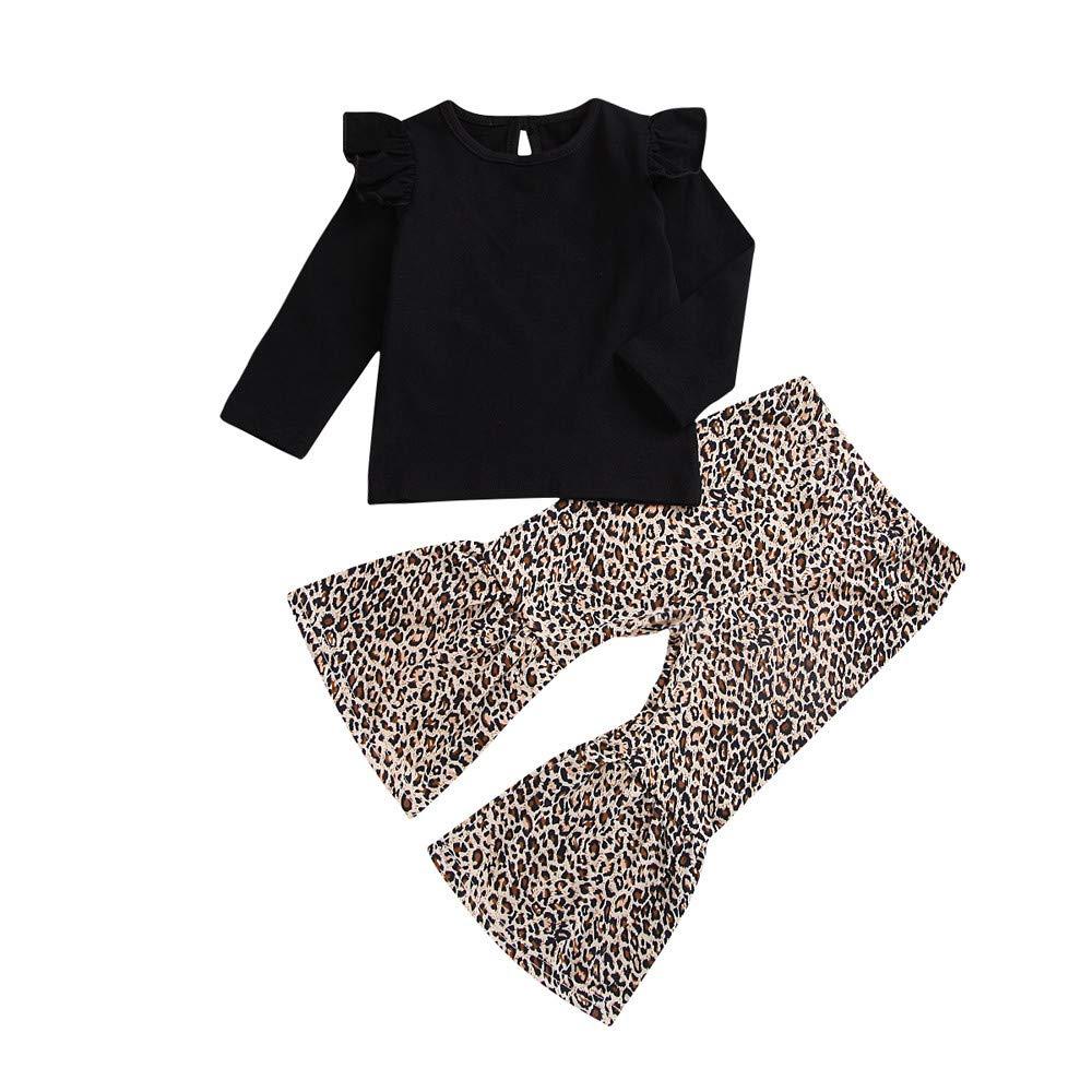 XXYsm Kinder Baby Mädchen 2pc Outfit Tops T-Shirt Leopard Hosen Schlaghose Set