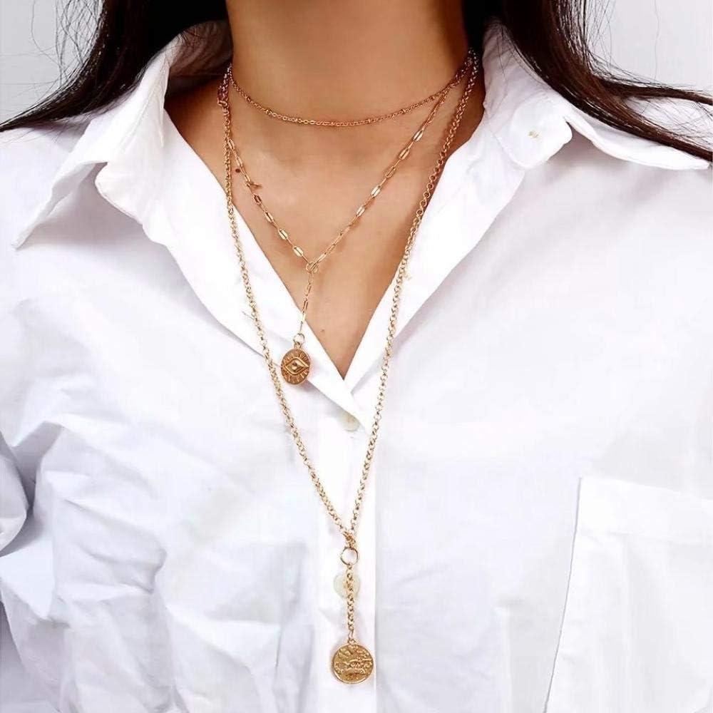 Collar Collares Colgantes Hechos A Mano para Mujer Gargantilla De Joyería De Color Plateado Dorado Vintage Moneda De Concha Estrella Corazón Fiesta Chian Collar Regalo