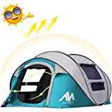 AYAMAYA Camping Tents 3-4 Person/People/Man Instant Pop Up Easy Quick Setup, Ventilated [2 Door] [Mesh Window] Waterproof 4 Season Big Family Privacy Dome Tent Shelter for Backpacking Picnic Travel