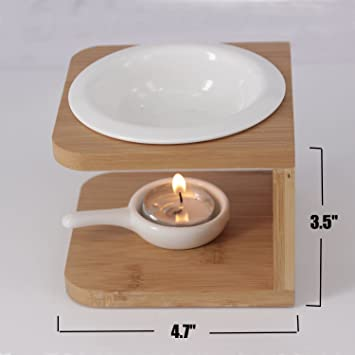Singeek 100ML Ceramic Tea Light Holder,Essential Oil Burner Candle Aroma  Diffuser For Spa Yoga Meditation (wood)