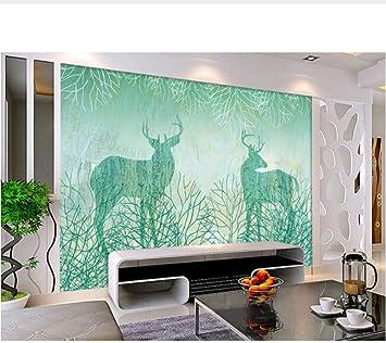 Los Murales 3D Personalizados, 3 D Azul, Retro, Mano Abstracta, Árbol De Dibujos Animados Dibujados A Mano, Sala De Estar, Sofá, Televisor, Pared, Dor (W)400x(H)280cm: Amazon.es: Bricolaje y herramientas
