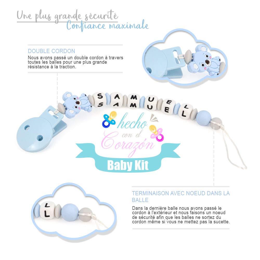 Chupetero Personalizado Para Bebe con Nombre Bola Silicona Antibacteria con Koala de Silicona alimentaria 2/º unid al 15/% de desc. RUBY Azul Pastel
