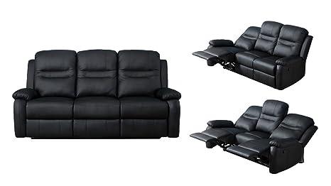 Divano Nero Ecopelle : Divano 3 posti reclinabile casa comfort casa salotto ecopelle nero