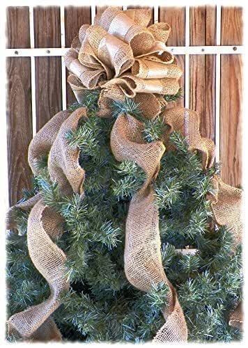10 inch gold ribbon and burlap christmas tree topper with burlap streamers handmade. Black Bedroom Furniture Sets. Home Design Ideas