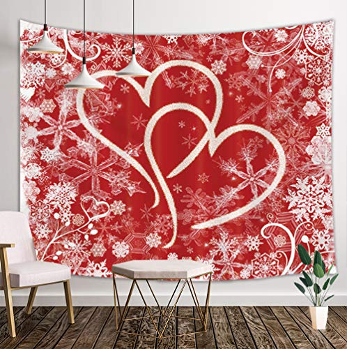 NYMB Winter Wallpaper Tapestry Wall Hanging, Hearts with Snowflakes Valentine's Day Wall Tapestry Art, Tapestries for Home Decorations TV Backdrop Dorm Decor Living Room Bedroom, Beach Towel, 80