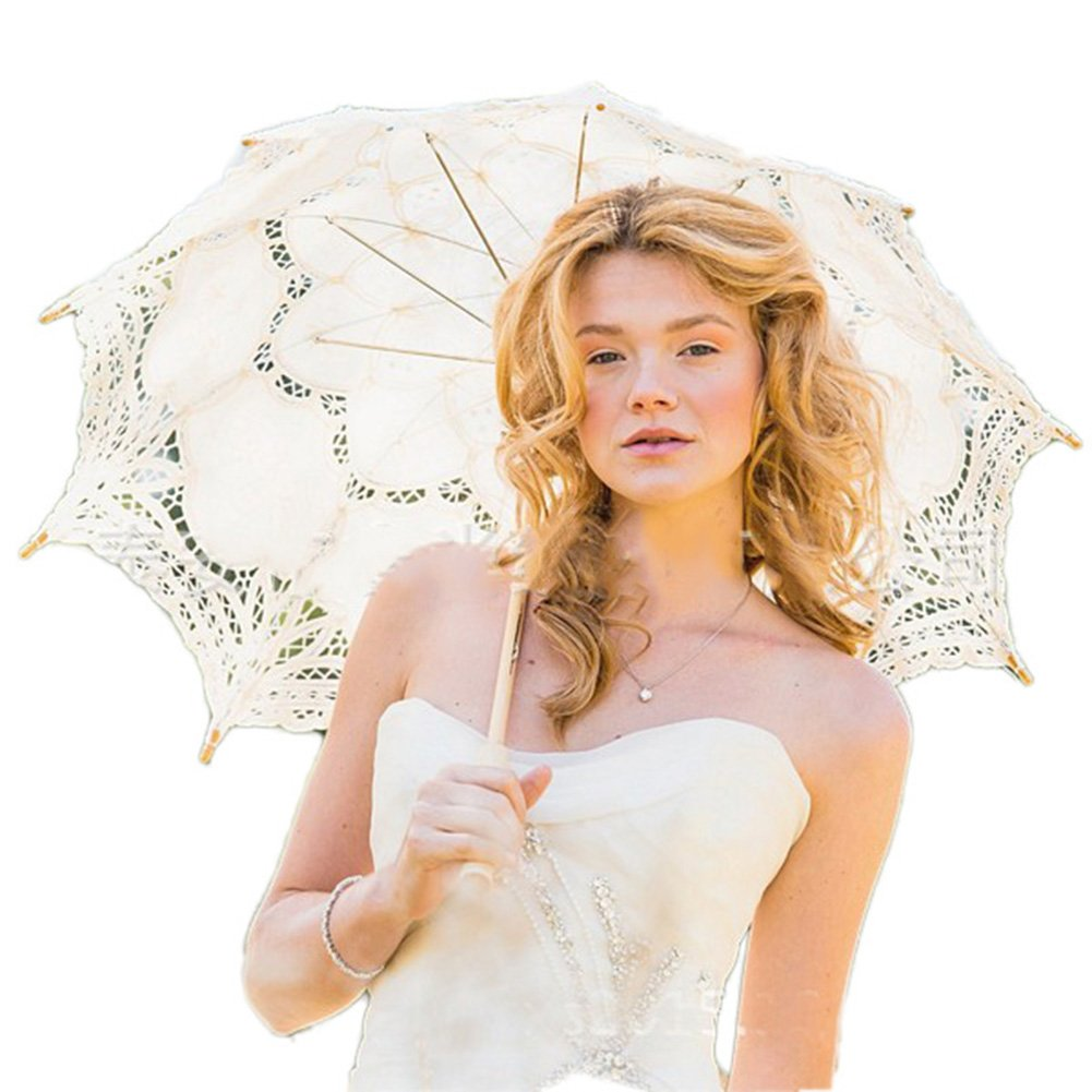 Womens Lace Umbrella Parasol Romantic Wedding Umbrella Photograph Props (Ivory)