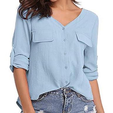 60745a6ee8e01e Longra Damen Einfarbig Chiffon Bluse Elegante Bluse Damenbluse V-Ausschnitt  Hemdbluse Tunika Bluse Tops mit Taschen Frauen Langarm T-Shirt Knopf  Cardigan ...
