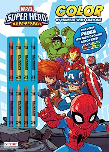Marvel Super Hero Adventures 32-Page Color by Number Coloring and Activity Book with 8 Crayons 47530