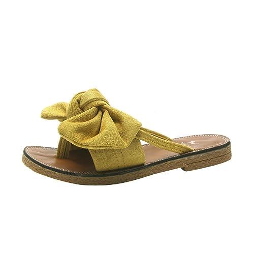 KKangrunmy Sandali Donna Nero Giardini, Sandali Chicco Sandalo Basso Fascia,Donne Solido Fiocco Basso Tacco Piatto Fondo Sandali Pantofola Spiaggia Scarpe (36, Giallo)