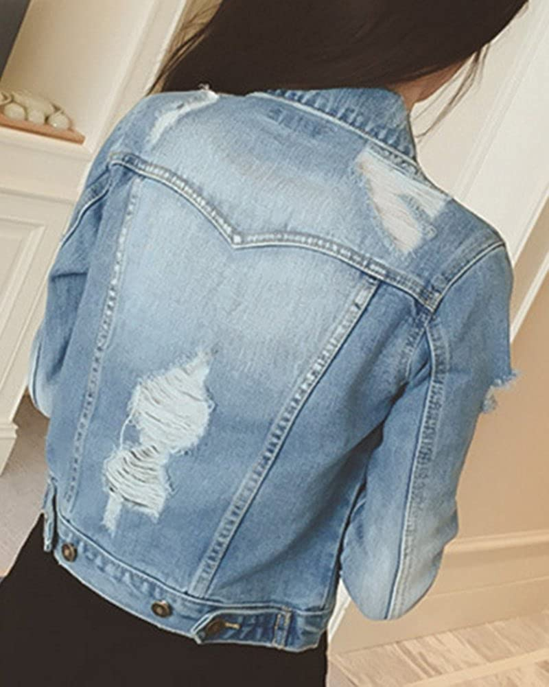 Donna Casual Slim Fit Sottile Giacca di Jeans Strappati Giubbotto Denim