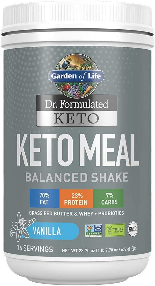 Garden of Life Dr. Formulated Keto Meal Balanced Shake - Vanilla Powder, 14 Servings, Truly Grass Fed Butter & Whey Protein plus Probiotics, Non-GMO, Gluten Free, Ketogenic, Paleo Meal Replacement