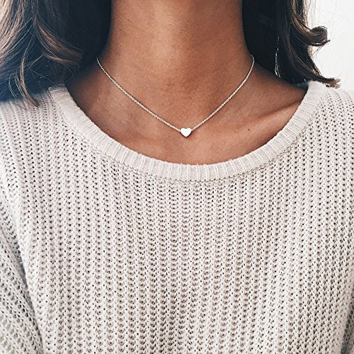 Botrong Crystal Heart Necklace for Women Romantic Fashion Classic Luxury Rhinestones (Silver)