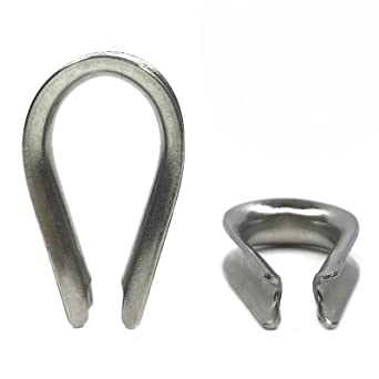 Eowpower 30PCS M5 Stainless Steel Thimble Rigging for 5//32-3//16 Diameter Wire Rope Cable