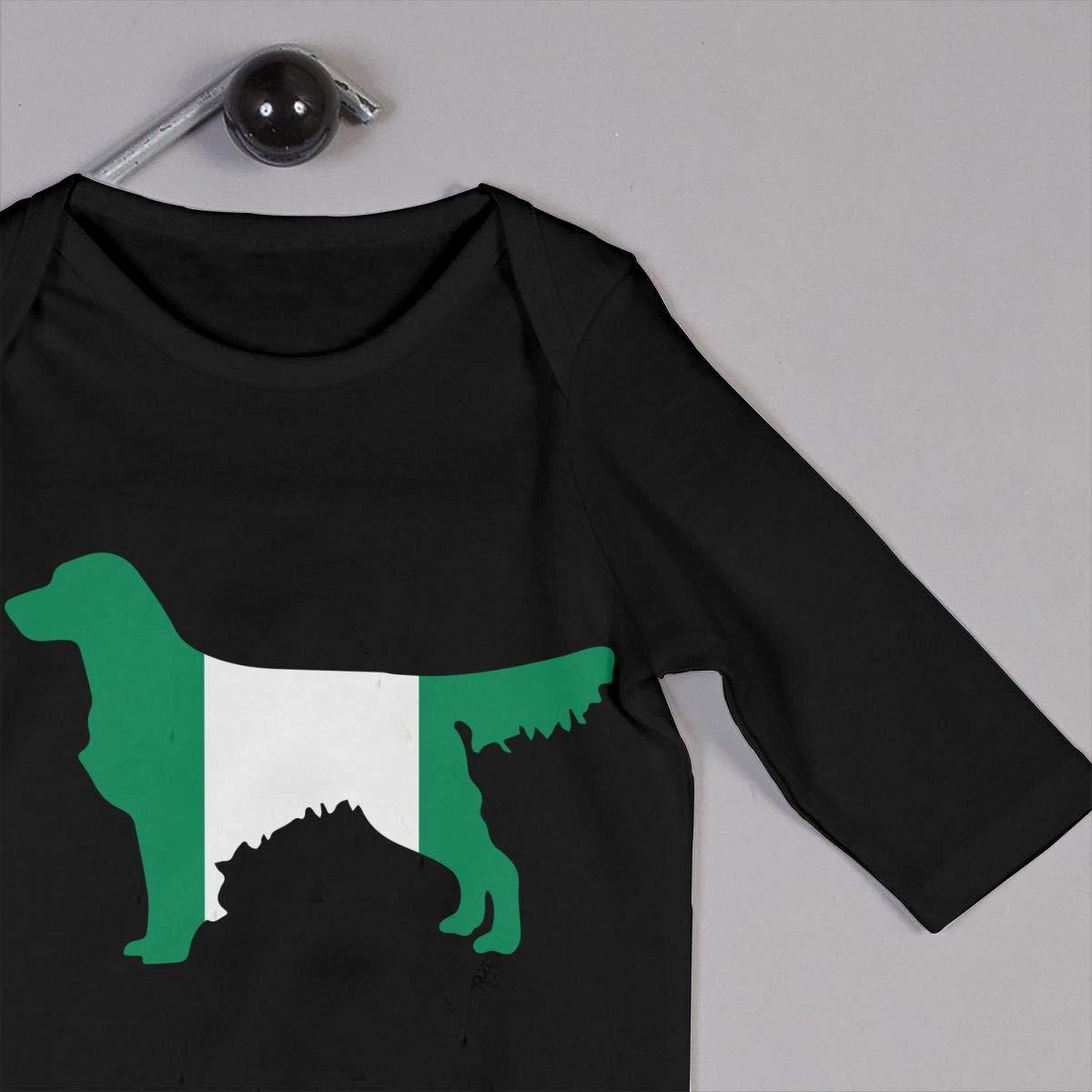 Nigerian Flag Golden Retriever Dogs Baby Boy Long Sleeve Romper Jumpsuit Infant Romper Jumpsuit