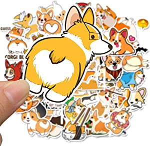 YAWALL Corgi Laptop Stickers, Cute Ins Style Stickers Vsco Teens Girl Lovely Music Film Skin Decals for Notebooks Travel Luggage Laptop Water Bottles Hydro Flask MacBook Skateboard 50Pcs