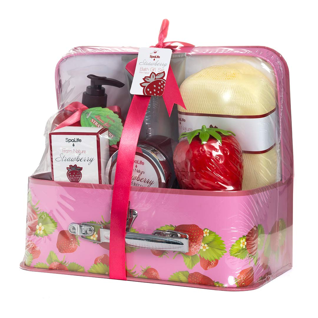 Spa Life All Natural Bath and Body Luxury Spa Gift Set Basket (Strawberry) by Spa life