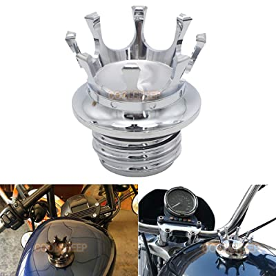Coolsheep Motorcycle Gas Cap Fuel Tank Oil Cover Crown Style Universal for Harley Sportster XL 1200 883 48 Dyna Touring Road King Softail Freewheeler FLRT FLST Chrome: Automotive