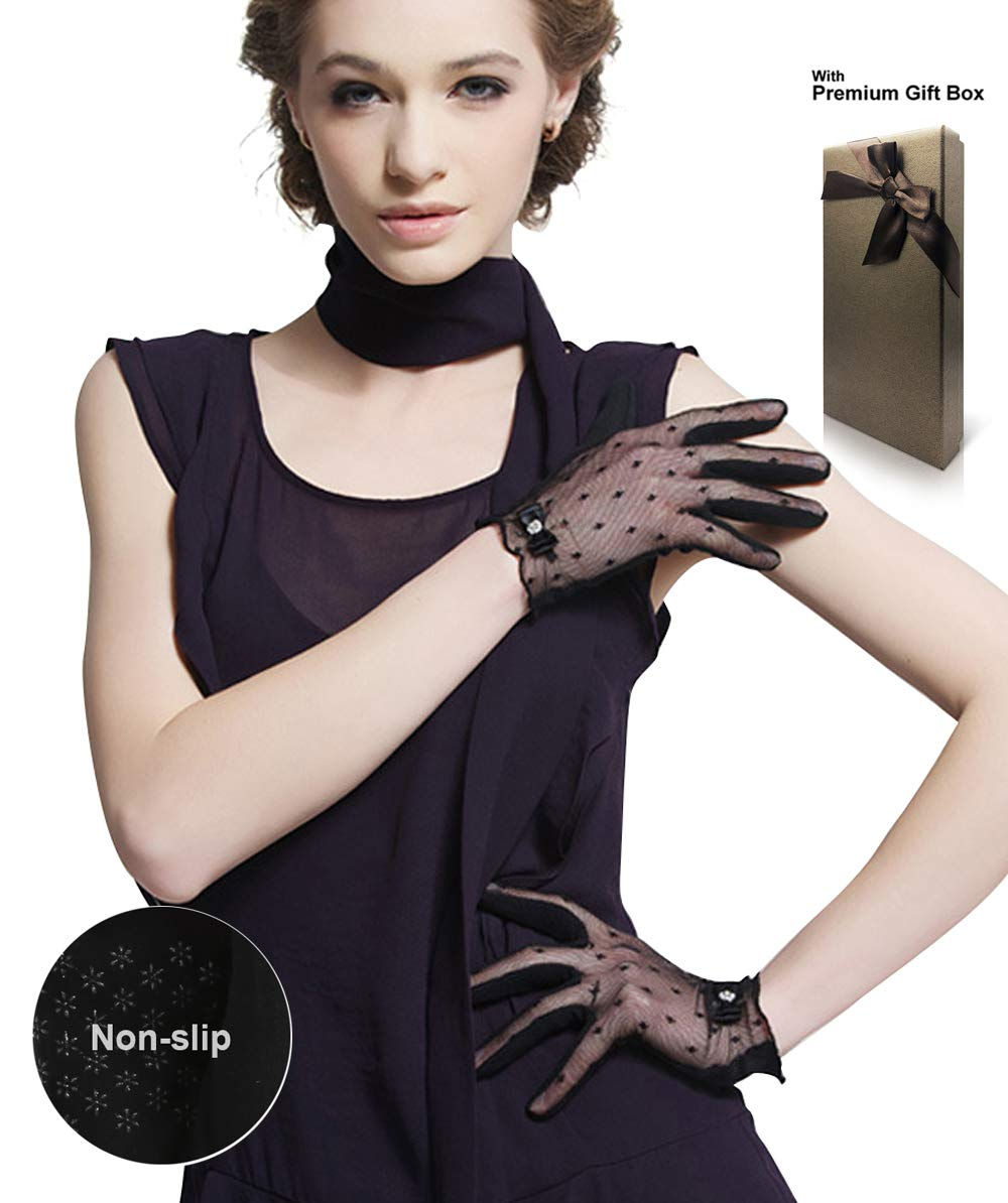 Womens Lace Short Gloves For Driving/Party/Evening/Weddings/Banquets Black White