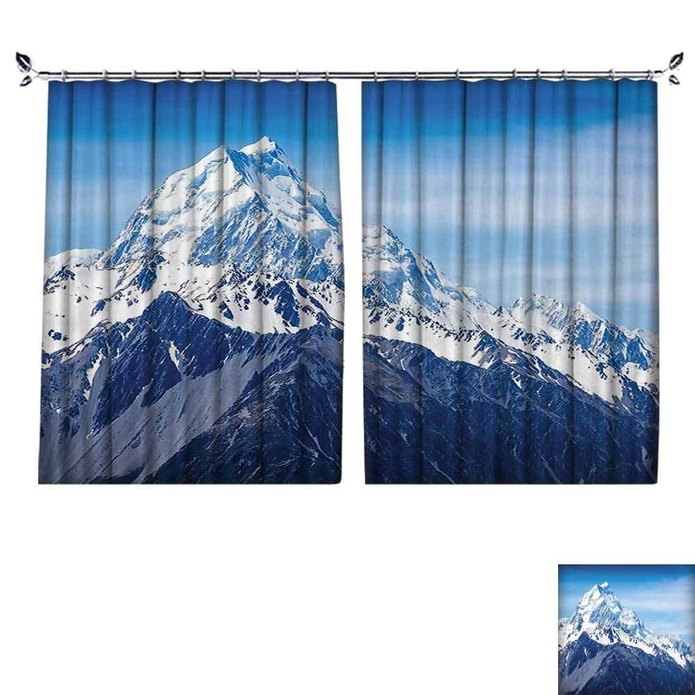 2 Panels Curtain with Hook Snowy Mountain Summit Majestic Natural Beauty Glacier Landscape Blue White Black Can Block Sunlight,W55 xL39