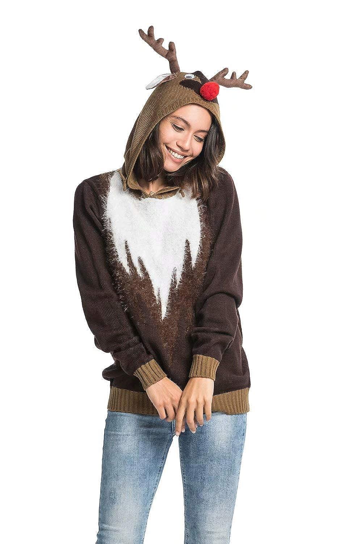 YOU LOOK UGLY TODAY Unisex Women's Ugly Christmas Hooded Jumper Funny Santa Reindeer Elf Xmas Hoodie