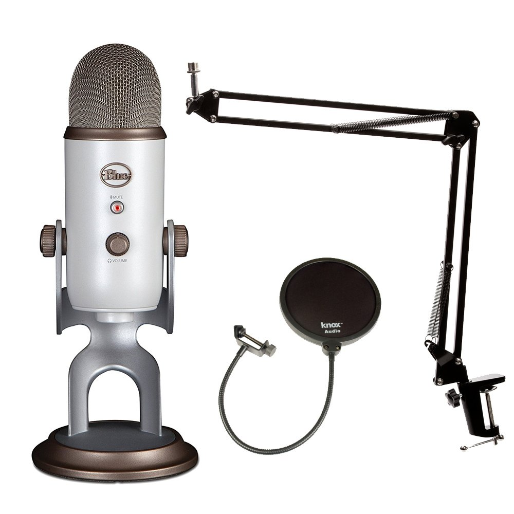 Blue Microphones Vintage White YETI Mic w Knox Boom Arm Stand, and Pop Filter