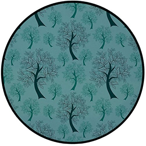 Printing Round Rug,Leaves,Pattern of Trees Silhouettes Forest Floral Decor Foliage Country Style Print Decorative Mat Non-Slip Soft Entrance Mat Door Floor Rug Area Rug For Chair Living Room,Green Tea