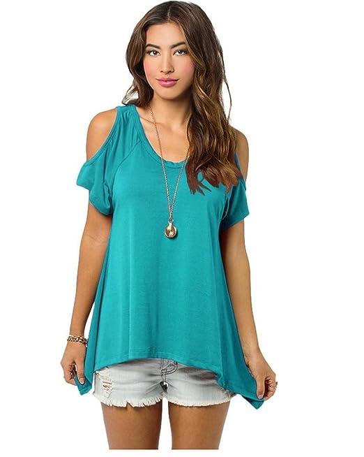 Blusa de manga corta para mujer, hombros al descubierto, estilo casual azul azul celeste