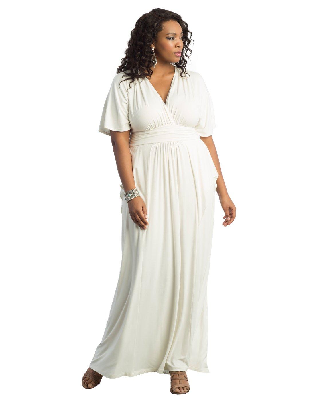 Kiyonna Women's Plus Size Indie Flair Maxi Dress 2X White Jasmine