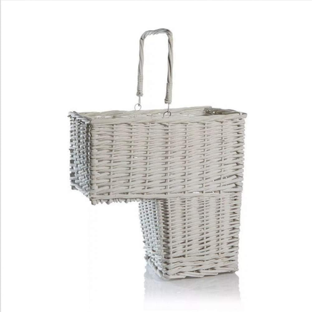 RFVNAC Escalera de Mimbre Tejida Blanca Caja de Almacenamiento de lavandería Caja de cosméticos Caja de cosméticos con asa Cesta de Almacenamiento de contenedores: Amazon.es: Hogar