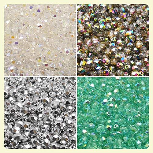 400 beads 4 colors Czech Fire-Polished Glass Beads Round 4 mm, Set 402 (4FP002 4FP003 4FP033 ()