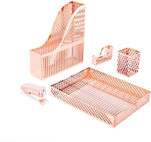 Sirmedal Modern rose gold metal desk organizer set -3 pieces, File Holder, Desk Tray and Pen Holder, Office Supplies Desk Accessories great for women