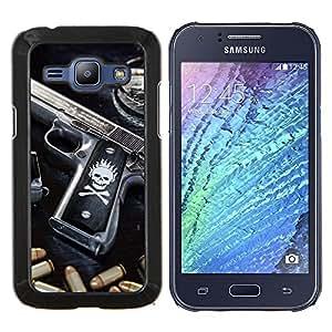 EJOOY---Cubierta de la caja de protección para la piel dura ** Samsung Galaxy J1 J100 ** --CRÁNEO ASESINO GANGSTA ARMA Y PUNTOS NEGROS