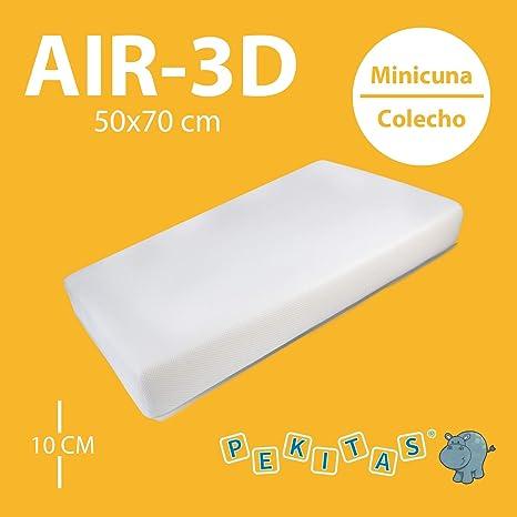 Pekitas - Colchón Minicuna 50x70 cm Funda AIR-3D Transpirable Antiahogo Con Cremallera Lavable Grosor 10cm Interior Espuma Blanca Fabricado en España Medidas Personalizables: Amazon.es: Bebé