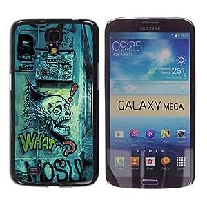Qstar Arte & diseño plástico duro Fundas Cover Cubre Hard Case Cover para Samsung Galaxy Mega 6.3 / I9200 / SGH-i527 ( Grafiti Street Art Drawing Skull Quote Slogan)