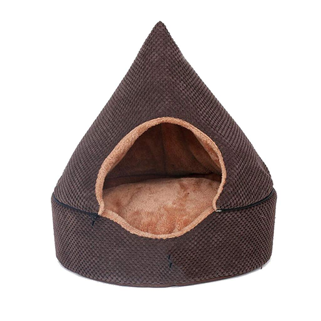 Brown Medium Brown Medium Tent Pet Nest Four Seasons Universal Removable And Washable Closed Type Medium Velvet Dog Cat Litter Mattress Warm 2 color Optional MUMUJIN (color   Brown, Size   M)