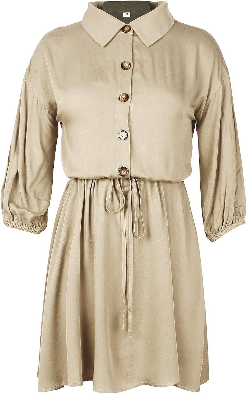 ZFQQ Vestido de Mujer 2020 Primavera y Verano Color sólido Elegante Falda