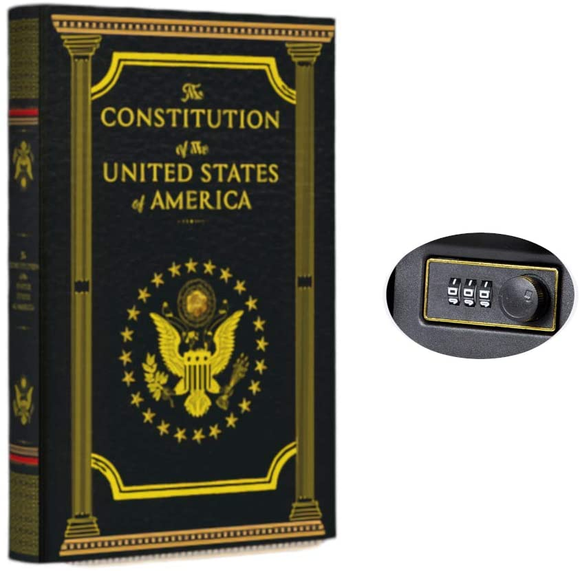 Real Pages Portable Diversion Book Safe with Combination Lock - Hollowed Out Book with Hidden Secret Compartment for Jewelry, Money and Cash (The Constitution of the United States of America) (Small)