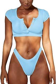 54bfa599dd8 Womens Bathing Suit V Neck Swimsuit T Shirt Swimwear Bikini Set Crop Top  Brazilian Thong Bottom