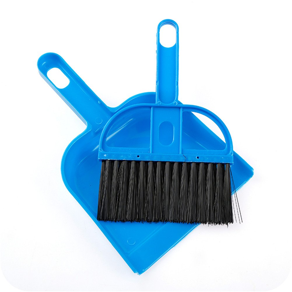 Broom Set Soft Bristle,Broom And Dustpan EXTRA LONG 47 inches handle-Dust And Brush Upright,Lies Tightly On Floor-Commercial Dustpan And Brush for Home, Lobby, Shop,Schools,Hotel,Bars (Blue Mini) by Jingyuan