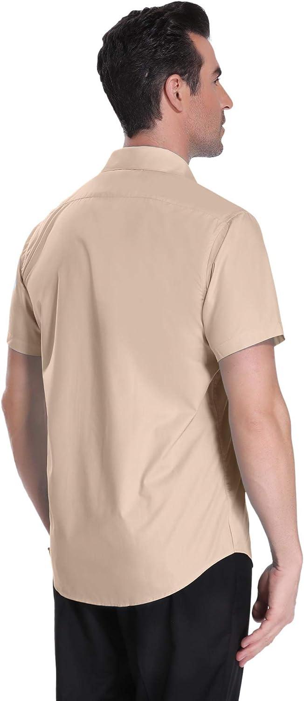 con Colletto Classico Sykooria Camicia Manica Corta Uomo Slim Fit Facile con Bottoni