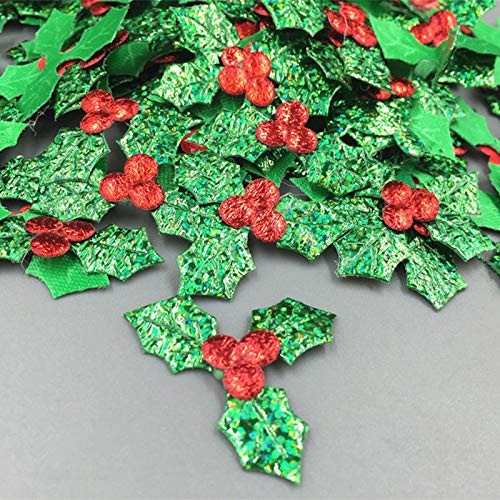 Maslin DIY 100pcs Holly Berries and Leaves