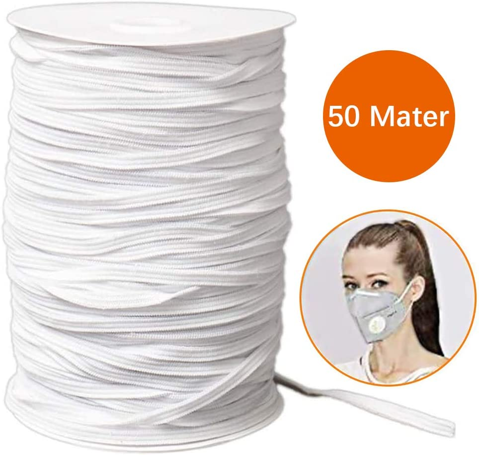 Skirt Trouser Waistband White 6mm Width 10 Meter Lengths Elastic Cord Spool Thread,Large Elastic Bands for Sewing Clothing DIY Projects Knitting