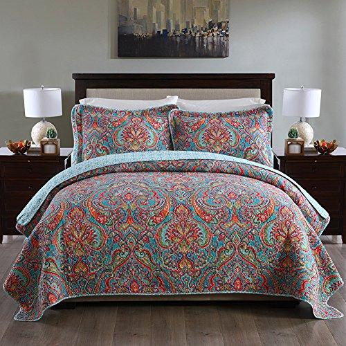 NEWLAKE Cotton Bedspread Quilt Sets-Reversible Patchwork Coverlet Set, European Gorgeous Floral Pattern, Queen Size
