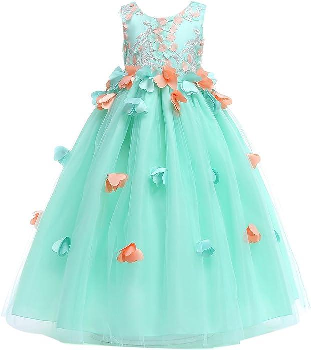 Kids Flower Girls Party Dress Wedding Bridesmaid Tutu Tulle Dresses Gown Prom UK
