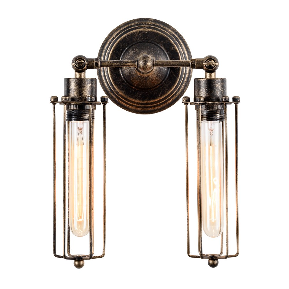 Vintage Wall Sconce 2-Light Simplicity Antique Oil Rubbed Mini Wire Cage Wall Lamp ;Moonkist (With 2 Light) (Bronze)
