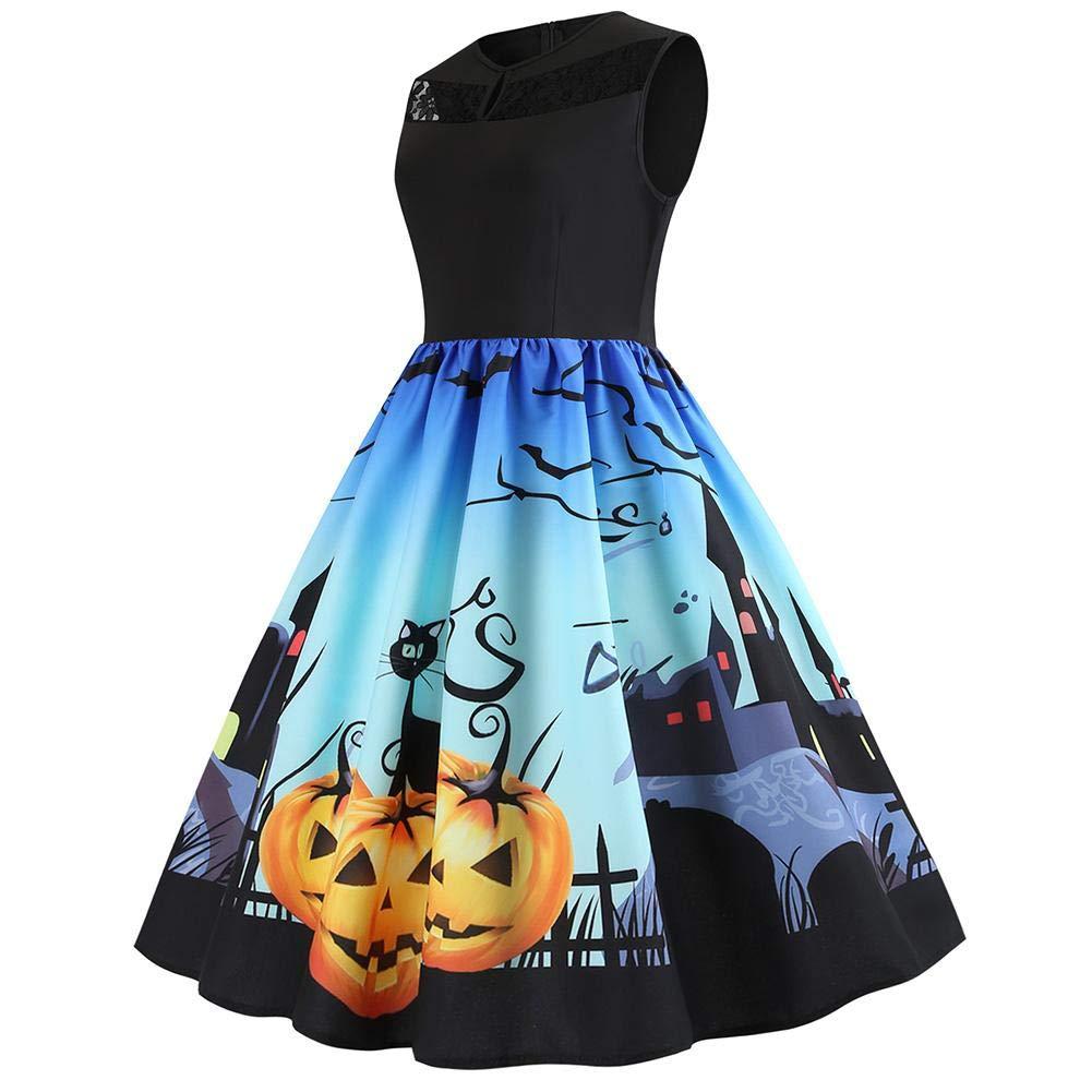 Alian Women's Halloween Dress Print Sleeveless,Retro Vintage Flare Dress