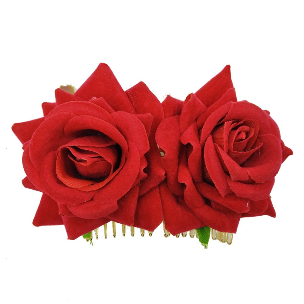 Lurrose 2pcs Rose Flower Side Hair Clips Flower Brooch Slide Hairpin Rose Hair Clips for Girls Women(Red)