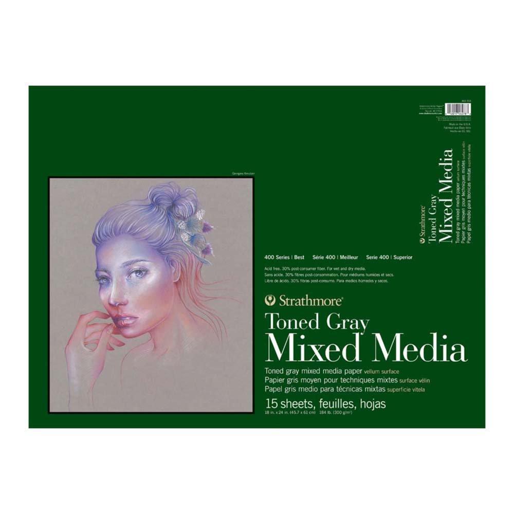 Strathmore 462-318 400 Series Toned Gray Mixed Media Pad, 18''x24'' Glue Bound, 15 Sheets per Pad