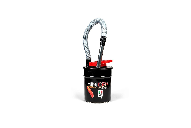 Bidón aspirador de cenizas para estufas, chimeneas y barbacoas. Con filtro HEPA protegido por una malla metálica. Tubo metálico flexible de 85 cm, ...